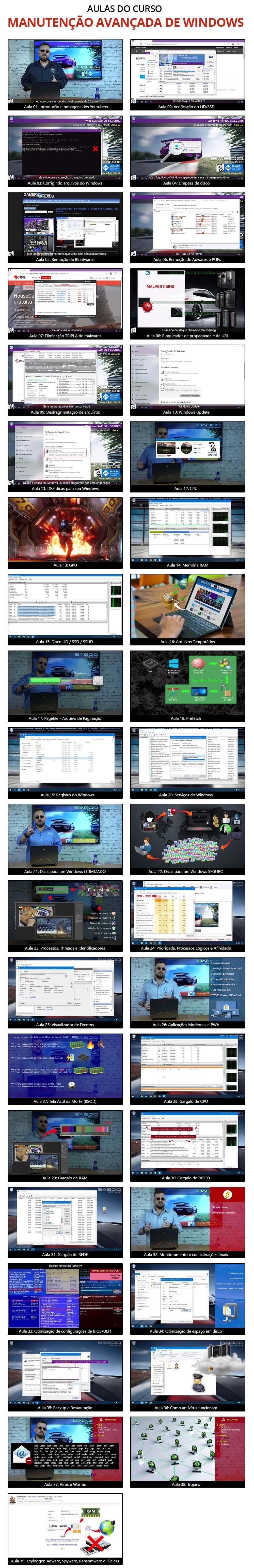 Aulas do curso de Manutenção AVANÇADA de Windows