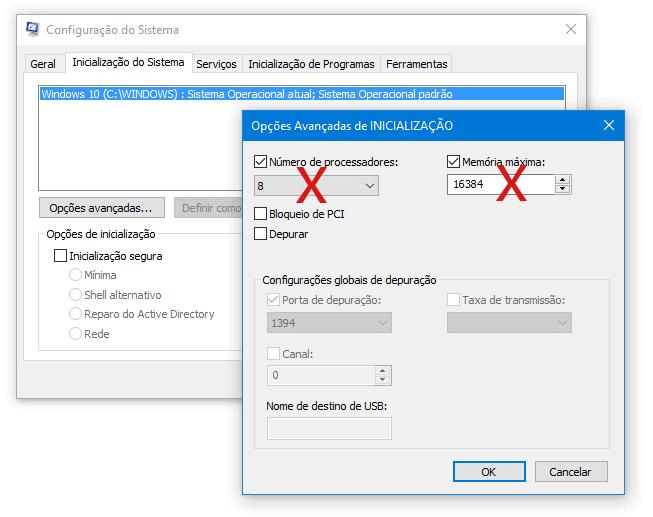 Dica errada 2: Opções Avançadas do MSCONFIG