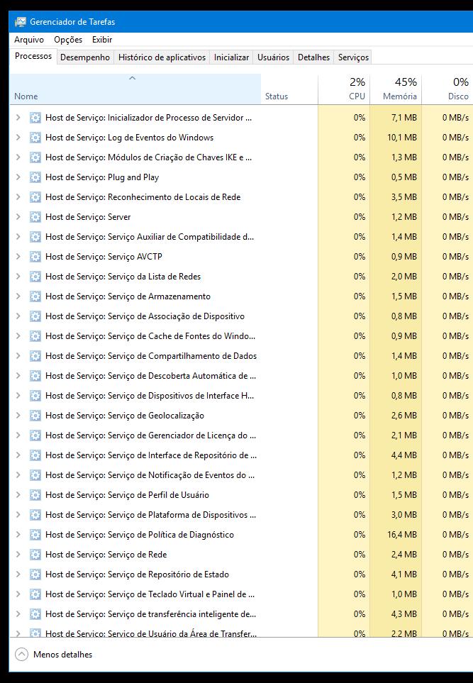 Dica errada 3: desativar Serviços do Windows