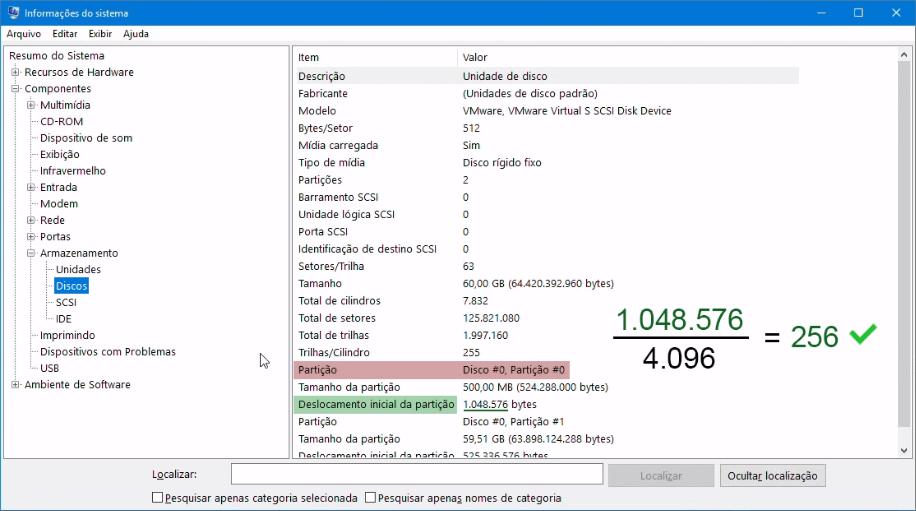 Otimização de SSD | Partição alinhada - exemplo