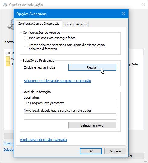Soluções para o problema do disco 100%   Indexação do Windows