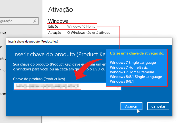 Ativar Windows 10 Home com chave de ativação do Windows 7 ou Windows 8.x