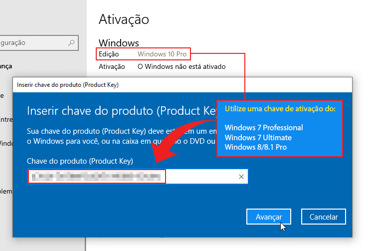 Ativar Windows 10 Pro com chave de ativação do Windows 7 ou Windows 8.x