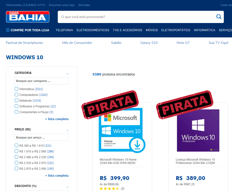 Casas Bahia vendendo software pirata