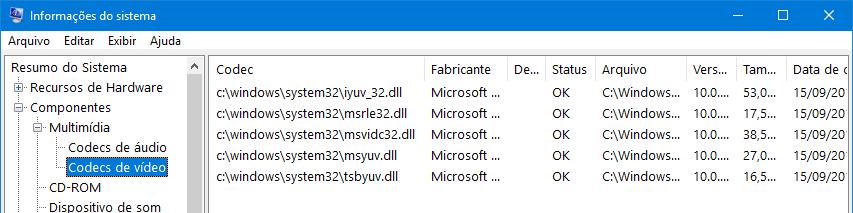 Lista de codecs em Informações do sistema