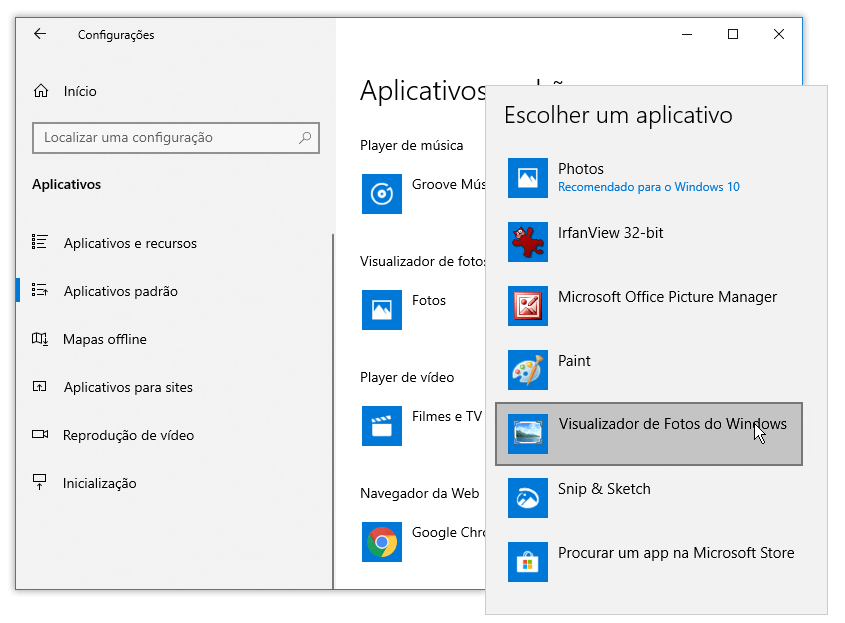 Visualizador de Fotos no Windows 10