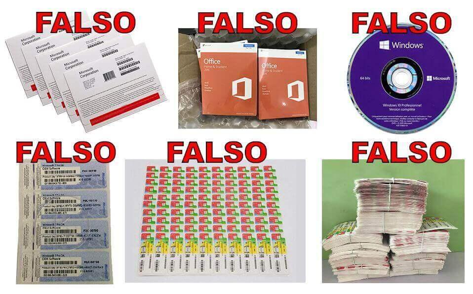 DVD, embalagem e COA falsos
