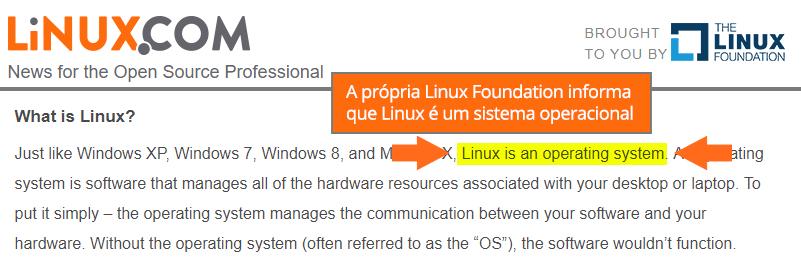 Linux é um sistema operacional!