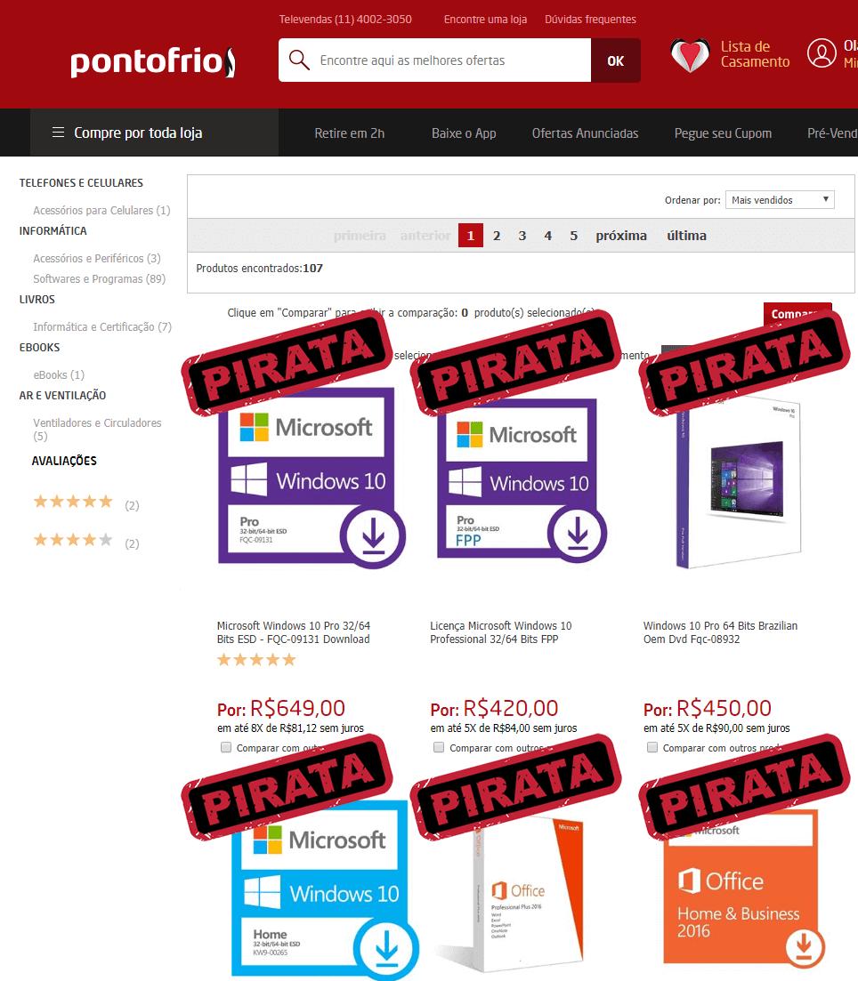 PontoFrio vendendo software pirata