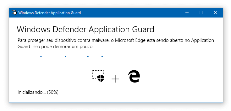 Windows Defender Application Guard no Windows 10 Pro | Inicializando
