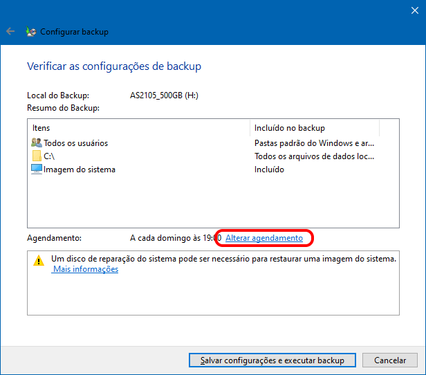 Como agendar backups no Windows 10