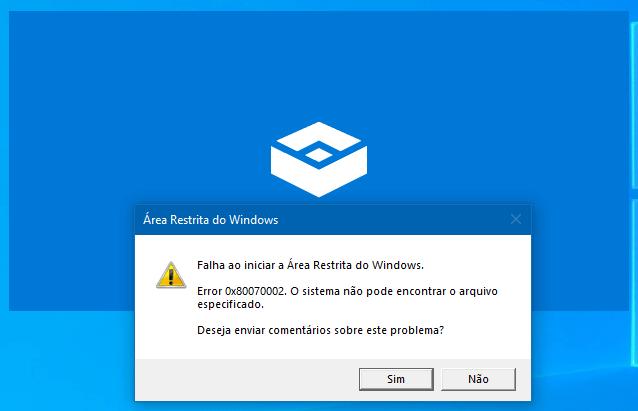 Atualização KB4497936 faz com que a Área Restrita do Windows deixe de funcionar no Windows 10 May 2019 Update