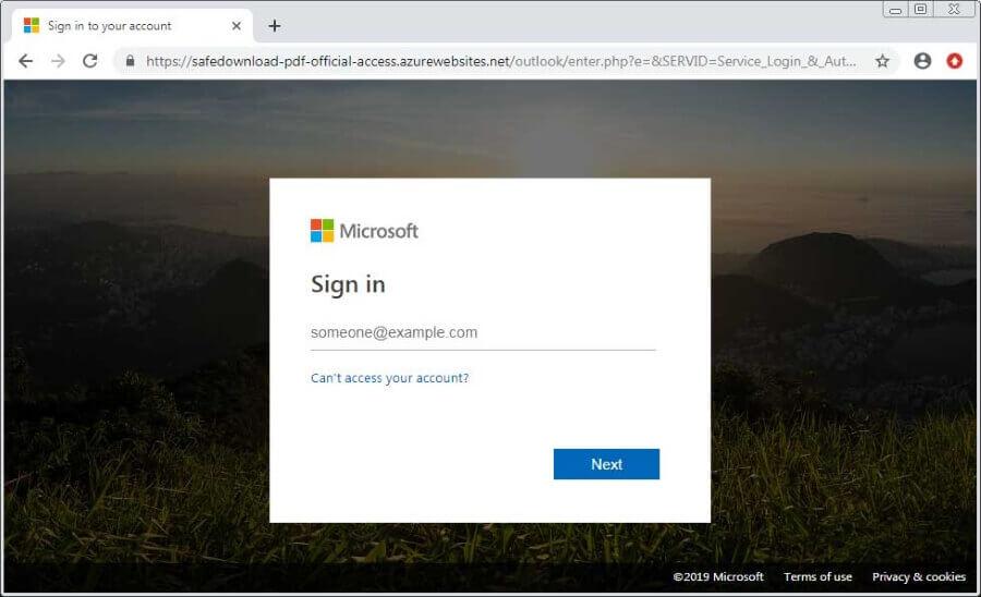 Azure Phishing Site