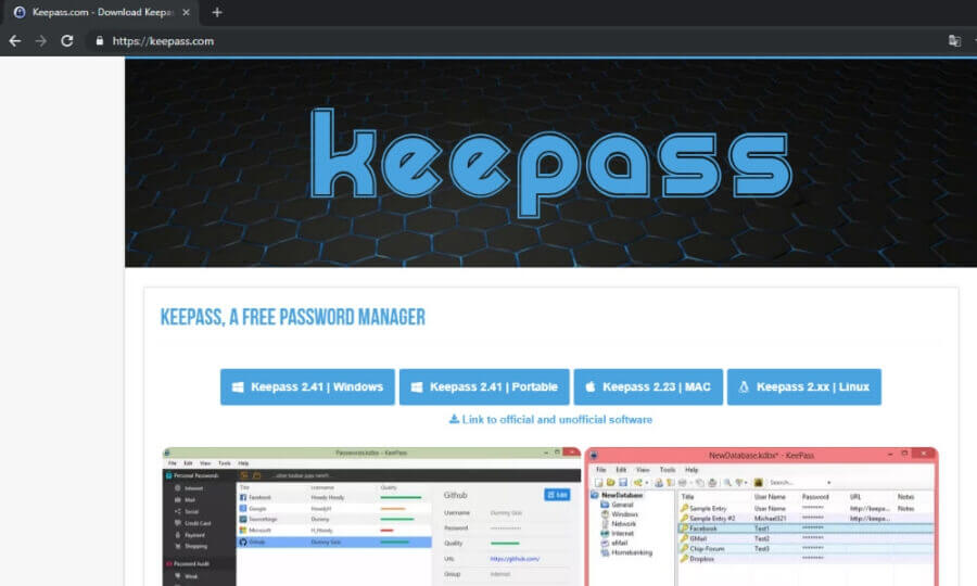 Falso Site Keepass 2