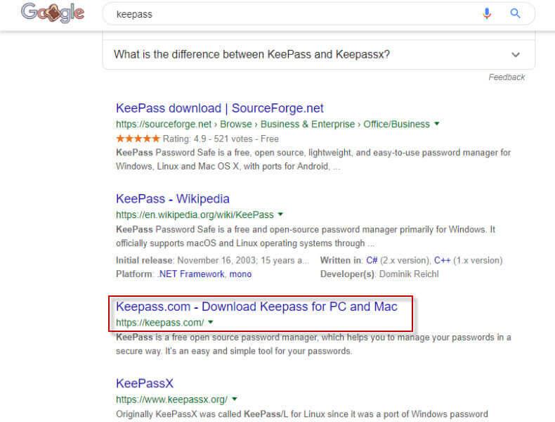 Site não oficial do gerenciador de senhas KeePass propaga malware