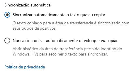 Como sincronizar a área de transferência entre diferentes PCs com Windows 10