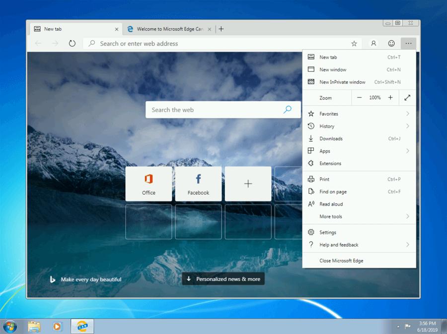 Microsoft Edge para Windows 7, Windows 8 e Windows 8.1 já está disponível