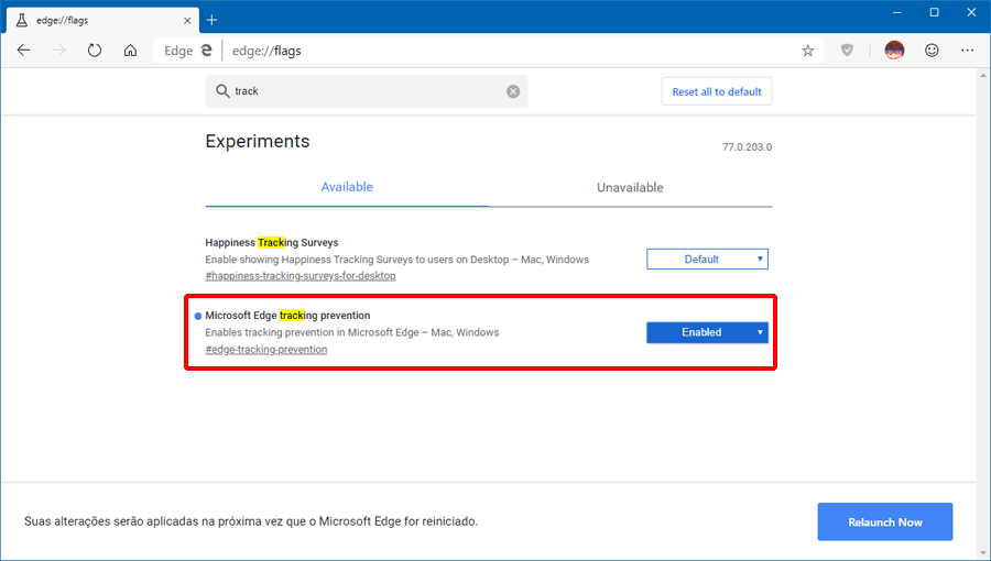 Como habilitar a opção Prevenção de Rastreamento no Microsoft Edge baseado no Chromium