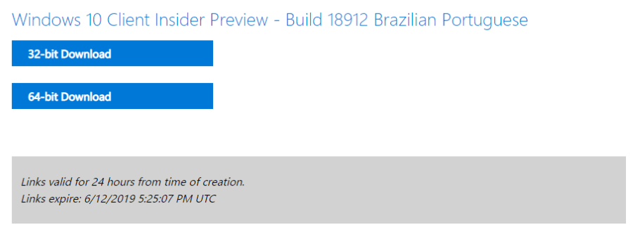 Microsoft disponibiliza ISOs do Windows 10 Preview build 18912