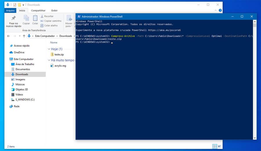 Como compactar arquivos usando o PowerShell no Windows 10