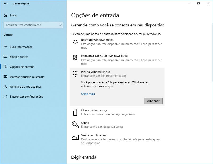 Como adicionar um PIN para se logar no Windows 10