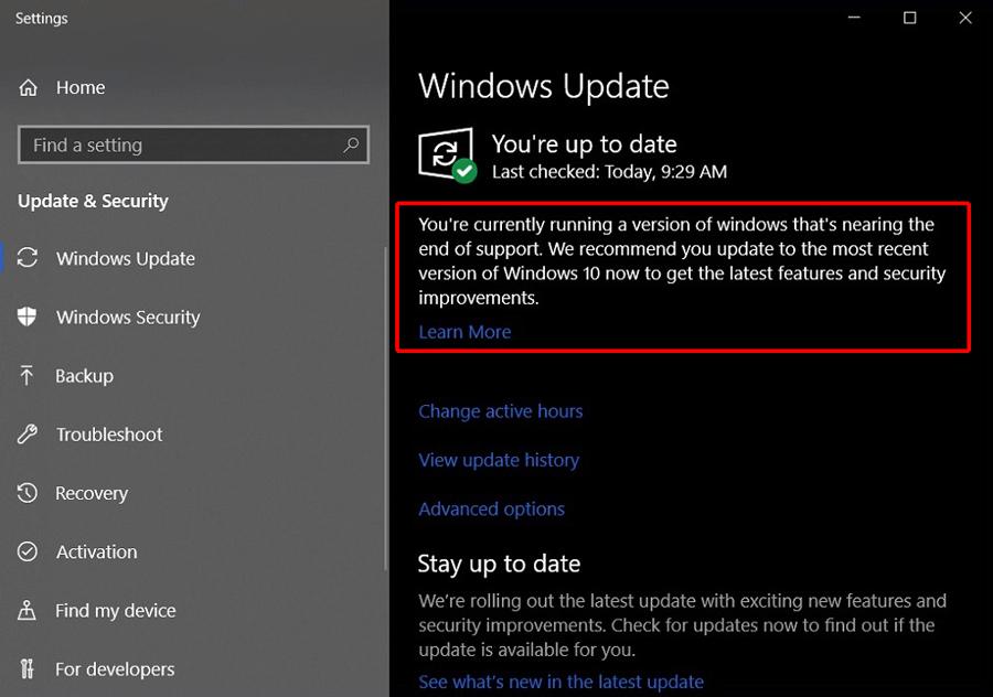 Windows Update no Windows 10 agora pode notificar o usuário quando o suporte estiver chegando ao fim