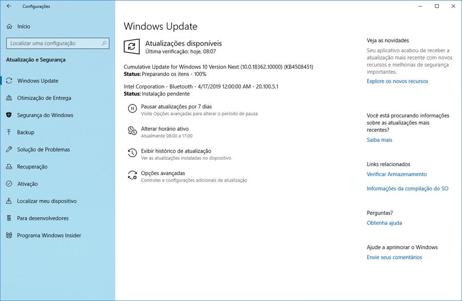 Faça o download do Windows 10 Preview build 18362.10000