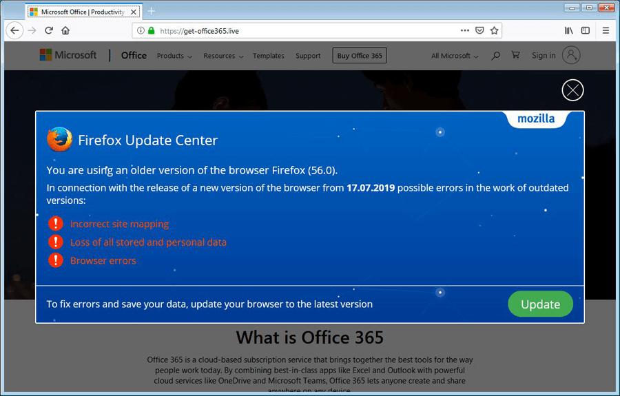 Site falso do Office 365 é usado para distribuir o trojan Trickbot