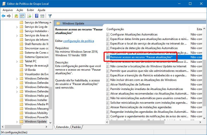Como restringir o acesso à opção Pausar atualizações do Windows Update no Windows 10