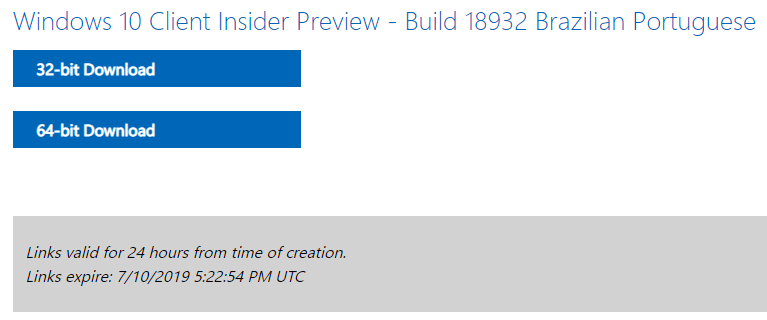 Microsoft disponibiliza ISOs do Windows 10 Preview build 18932