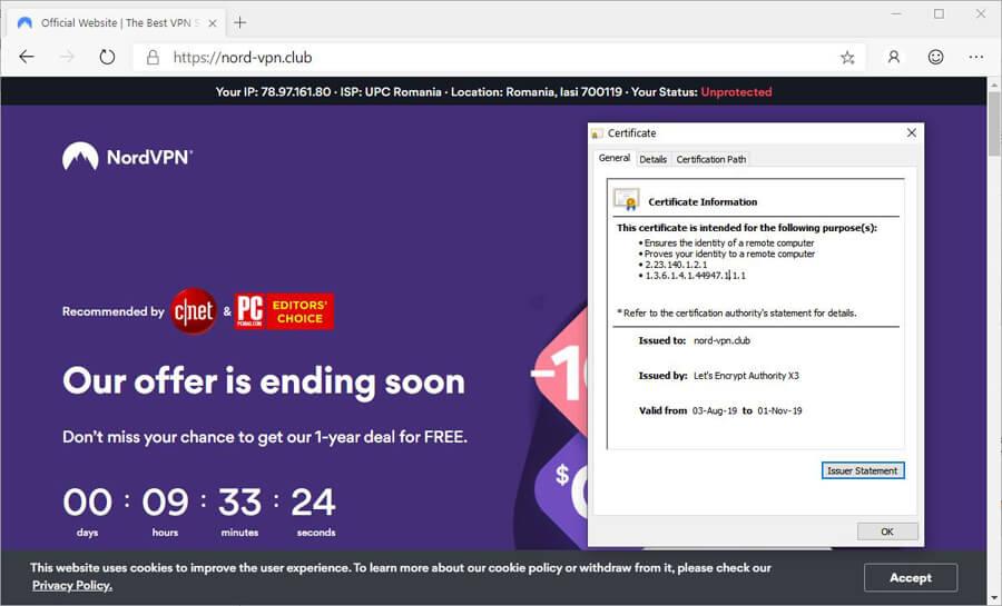 Site falso do serviço NordVPN é usado para distribuir o trojan Bolik