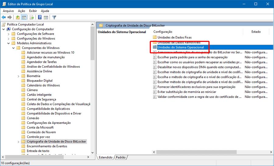 Como habilitar a criptografia de disco BitLocker no Windows 10 em um PC sem chip TPM