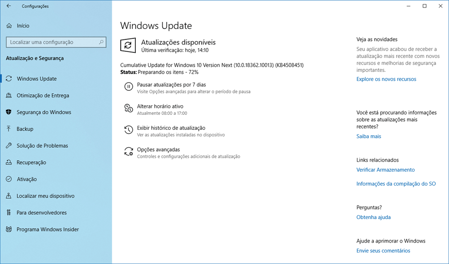 Microsoft disponibiliza o Windows 10 Preview build 18362.10012 e 18362.10013