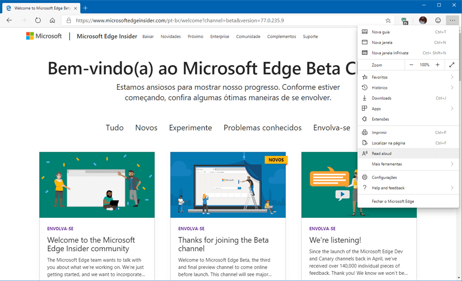 Microsoft disponibiliza versão Beta do novo Microsoft Edge baseado no Chromium