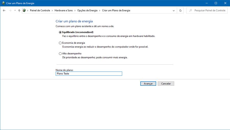 Como criar um plano de energia personalizado no Windows 10
